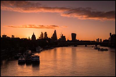 The city from Waterloo Bridge at sunrise