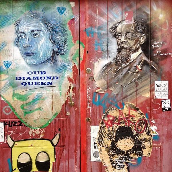 Dickens and Our Diamond Queen - London #streetart, Brick Lane to Spitalfields
