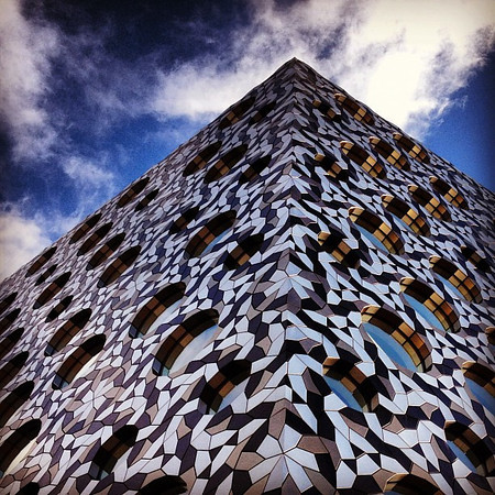 London new, sky blue. Mosaic tiles of Ravensbourne College, Greenwich Peninsula