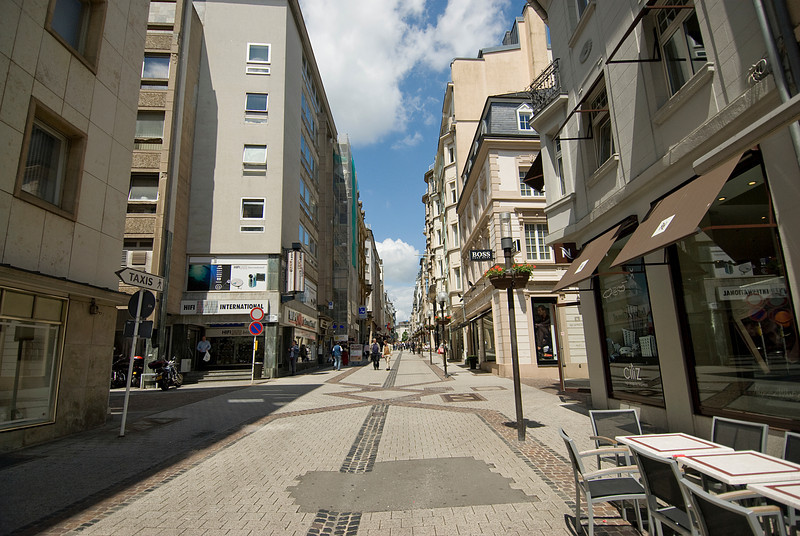 Street scene in Luxembourg city, Luxembourg