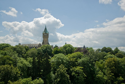 Clock tower of Place de Metz  as seen from across the Adolphe Bridge - Luxembourg