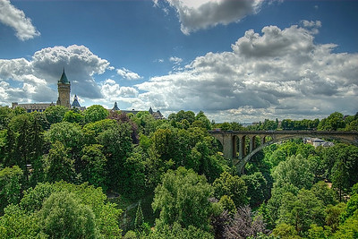 Beautiful scenery at the Adolphe Bridge in Luxembourg city, Luxembourg