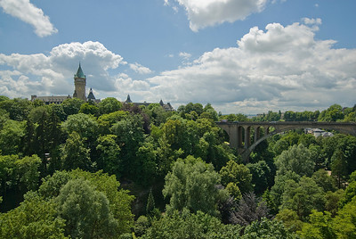 View of the Adolphe Bridge in Luxembourg city, Luxembourg