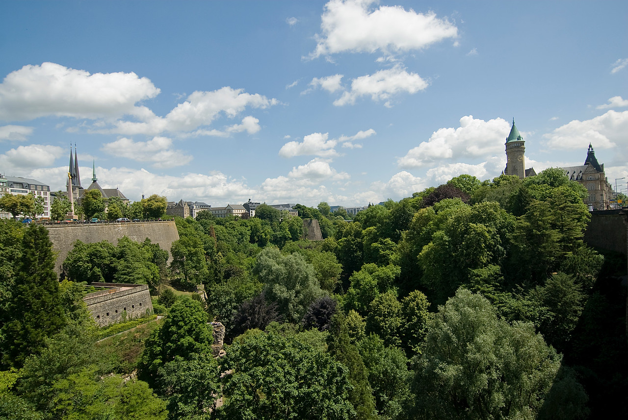 Overlooking the Petrusse Valley and its Adolphe Bridge from Plaza de la Constitution in Luxembourg city, Luxembourg