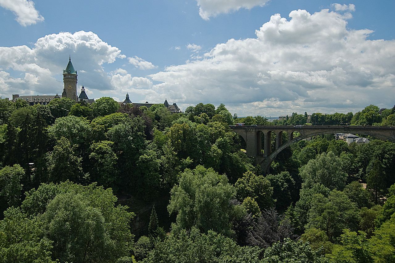 Wide shot of the Adolphe Bridge in Luxembourg, Luxembourg