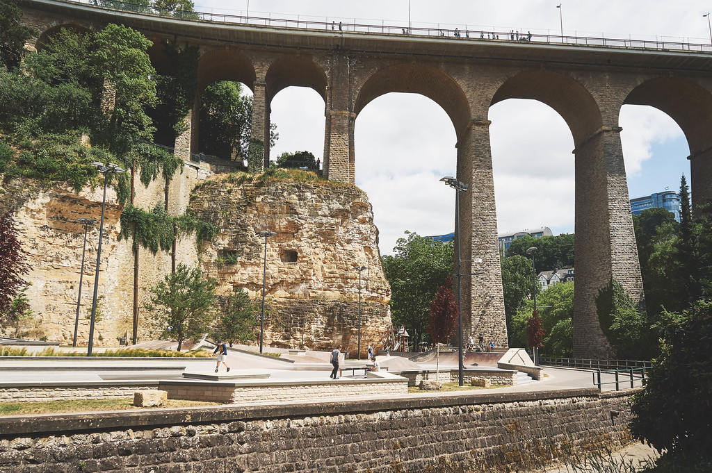 Skateboarding park and Luxembourg Viaduct in Luxembourg city