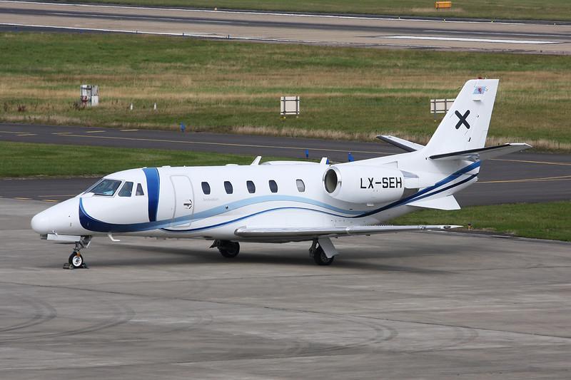 LX-SEH Citation 560 Citation Excel S c/n 560-5755 Leeds-Bradford/EGNM/LBA 12-09-14