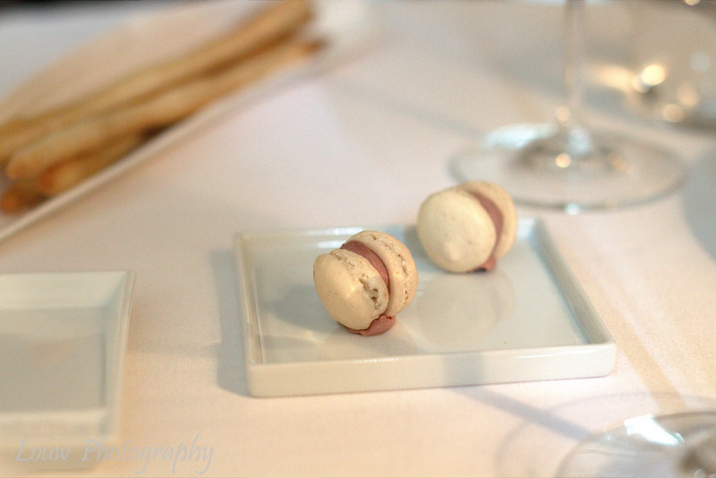 Amuse bouche of chicken liver macaron with white truffle, Mosconi, Luxembourg City