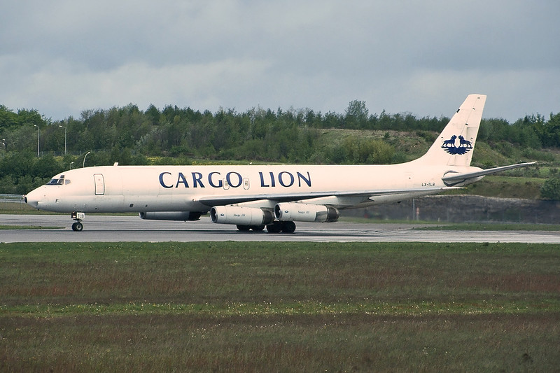 "LX-TLB Douglas DC-8-62 ""Cargo Lion"" c/n 45925 Luxembourg/ELLX/LUX 10-05-97 (35mm slide)"
