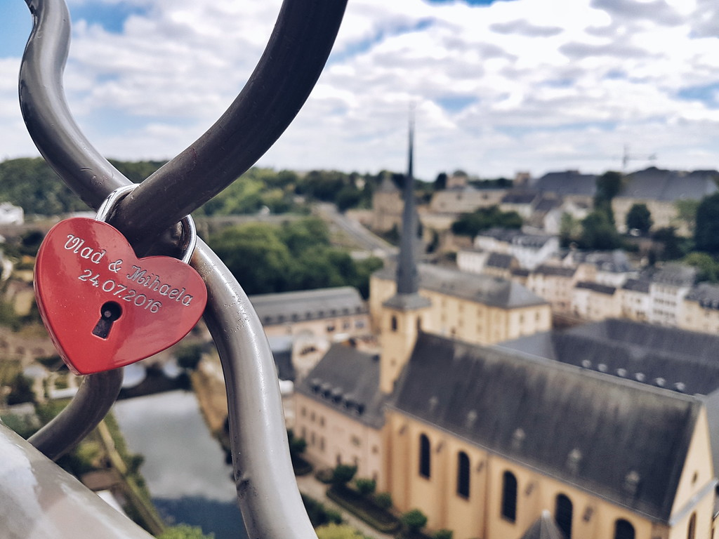 Heart lock on the Wenzel walk in Luxembourg city