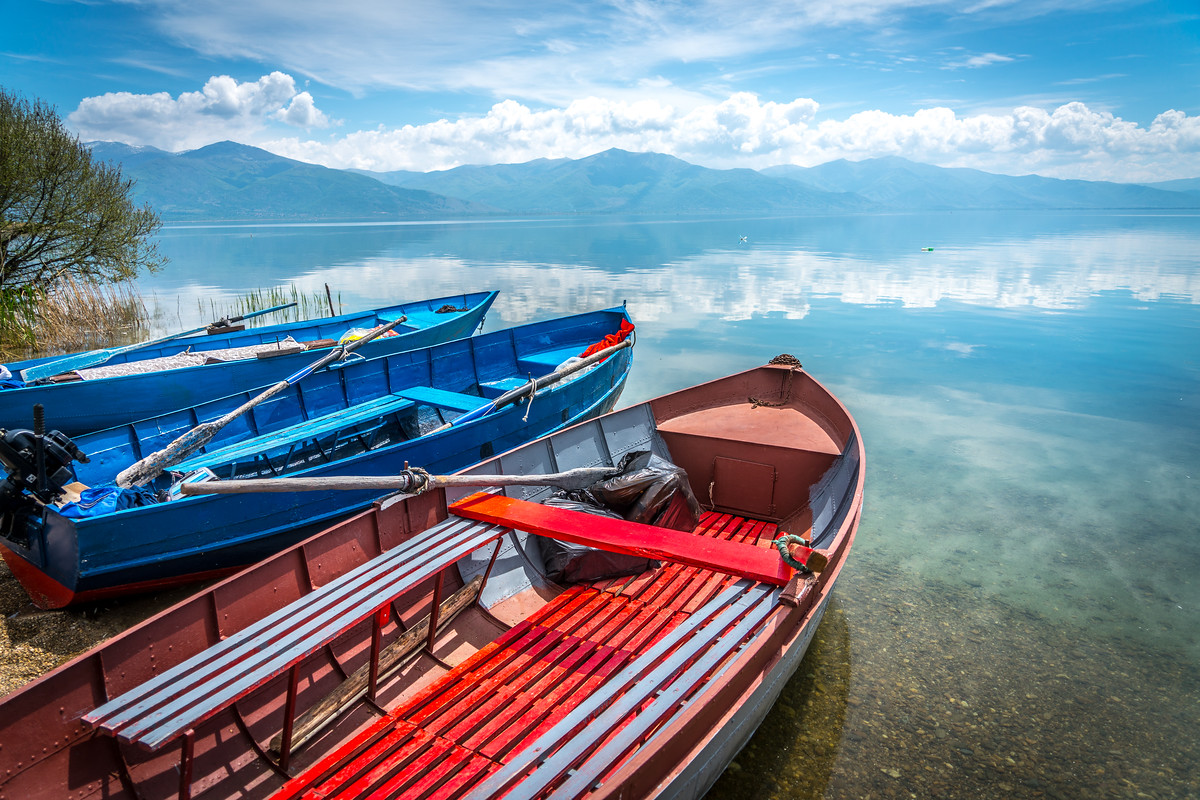 Boats in Lake Prespa, Macedonia