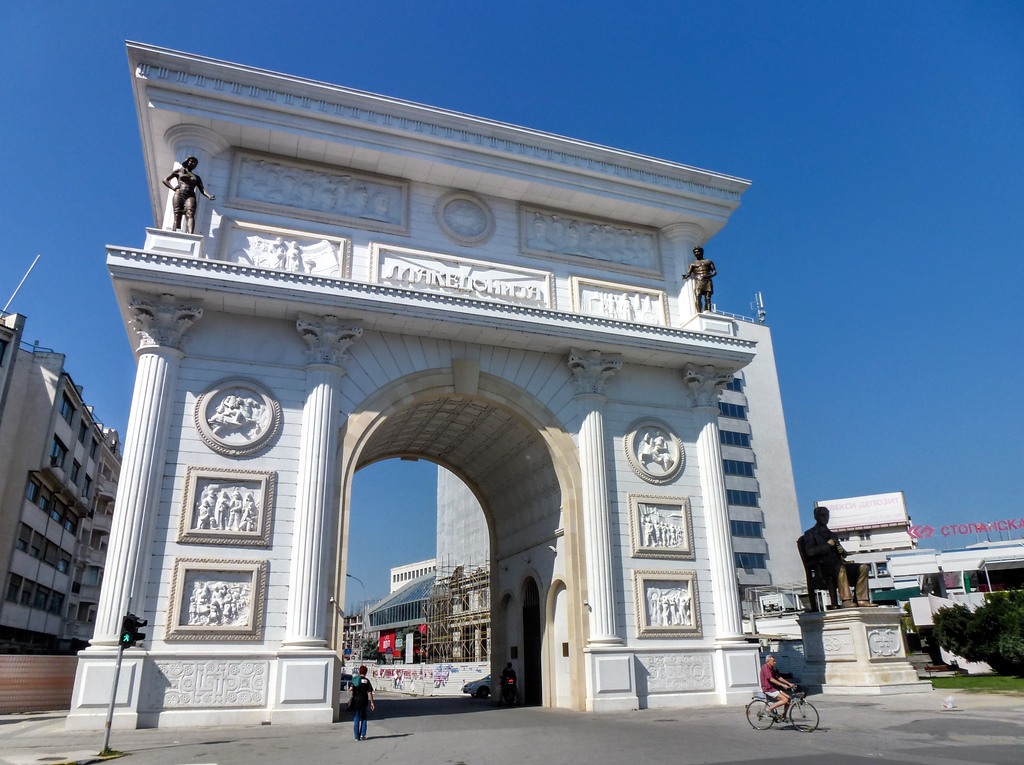 A Photo Of The Controversial Porta Macedonia Arch In Skopje