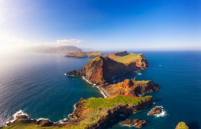 Aerial view of the Ponta de Sao Lourenco peninsula, Madeira, Portugal