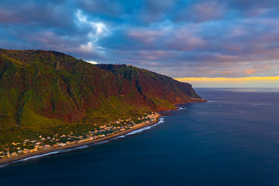 Aerial view of Paul do Mar on Madeira, Portugal at sunset