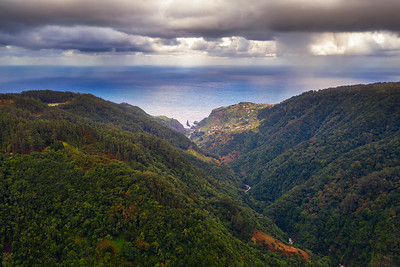 Aerial view of mountains and Atlantic Ocean in Madeira, Portugal