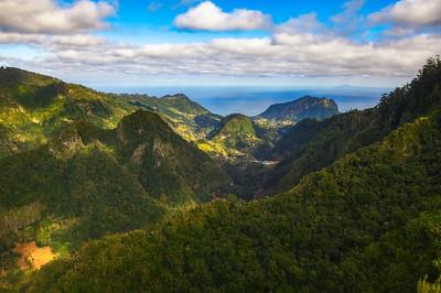 Valley of the Ribeira da Metade on Madeira as seen from the Balcoes viewpoint