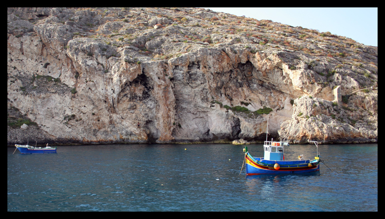 Xlendi bay climbing. There is a plethora of routes. Most unclimbed! Can you spot the climber ? (me)
