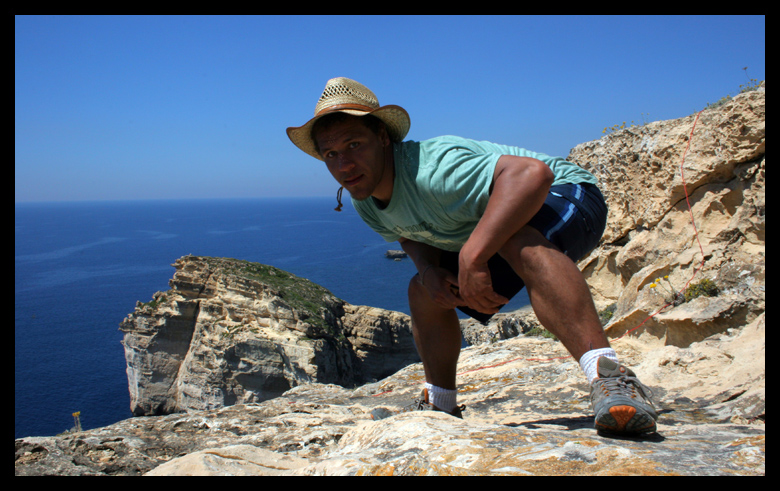 I stepped to see if the camera was ready to shoot and it took my picture! ha. I liked it though so this is the picture of me in Gozo.