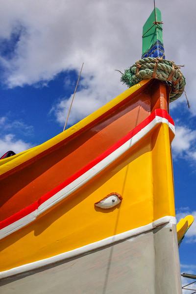"The ""eye"" on the front of traditional Maltese fishing boats - Marsaxlokk, Malta"