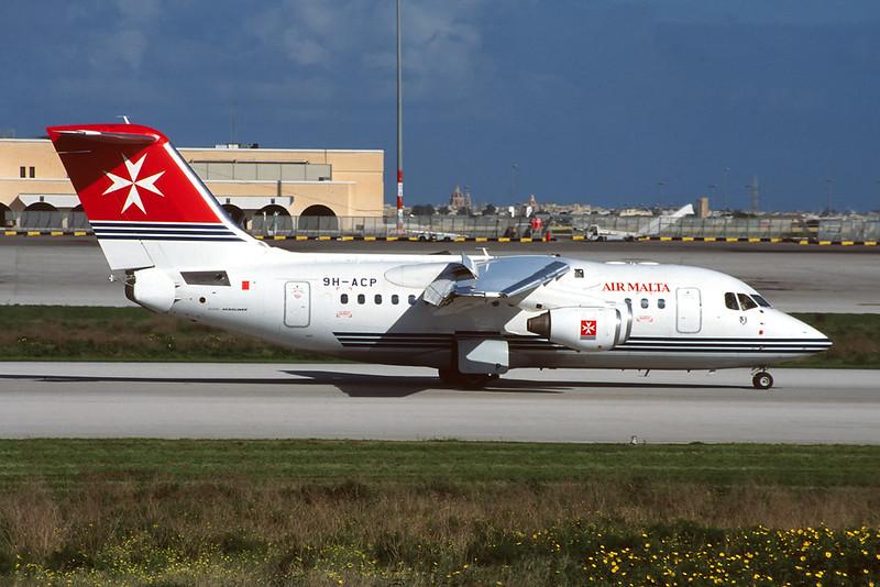 9H-ACP Avro RJ-70 c/n E1267 Malta-Luqa/LMML/MLA 09-01-96 (35mm slide)