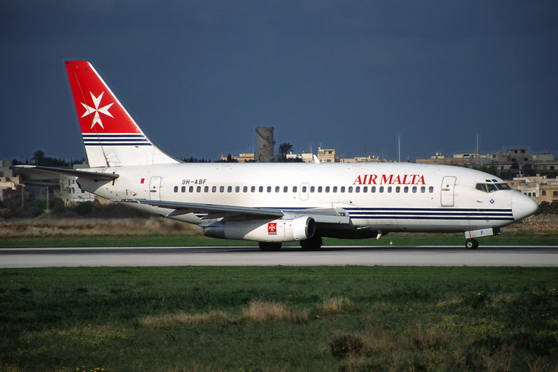 9H-ABF Boeing 737-2Y5 c/n 23848 Malta-Luqa/LMML/MLA 15-01-96 (35mm slide)