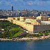 The view of Manoel Island from Hastings Garden in Valletta