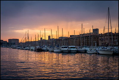 Marseilles harbour at sunset