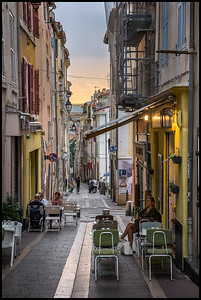 Marseilles street at sunset