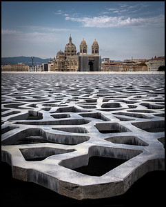 View of Marseilles Cathedral / Cathédrale de la Major The Mucem across the Mucem