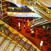 "The ""diamond stairs"" in the ship's 3-story lobby"