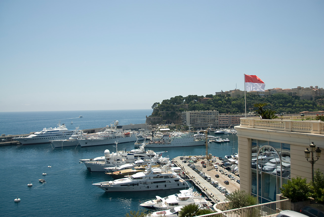 Wide shot of the yachts at Hercules Port in Monte Carlo, Monaco