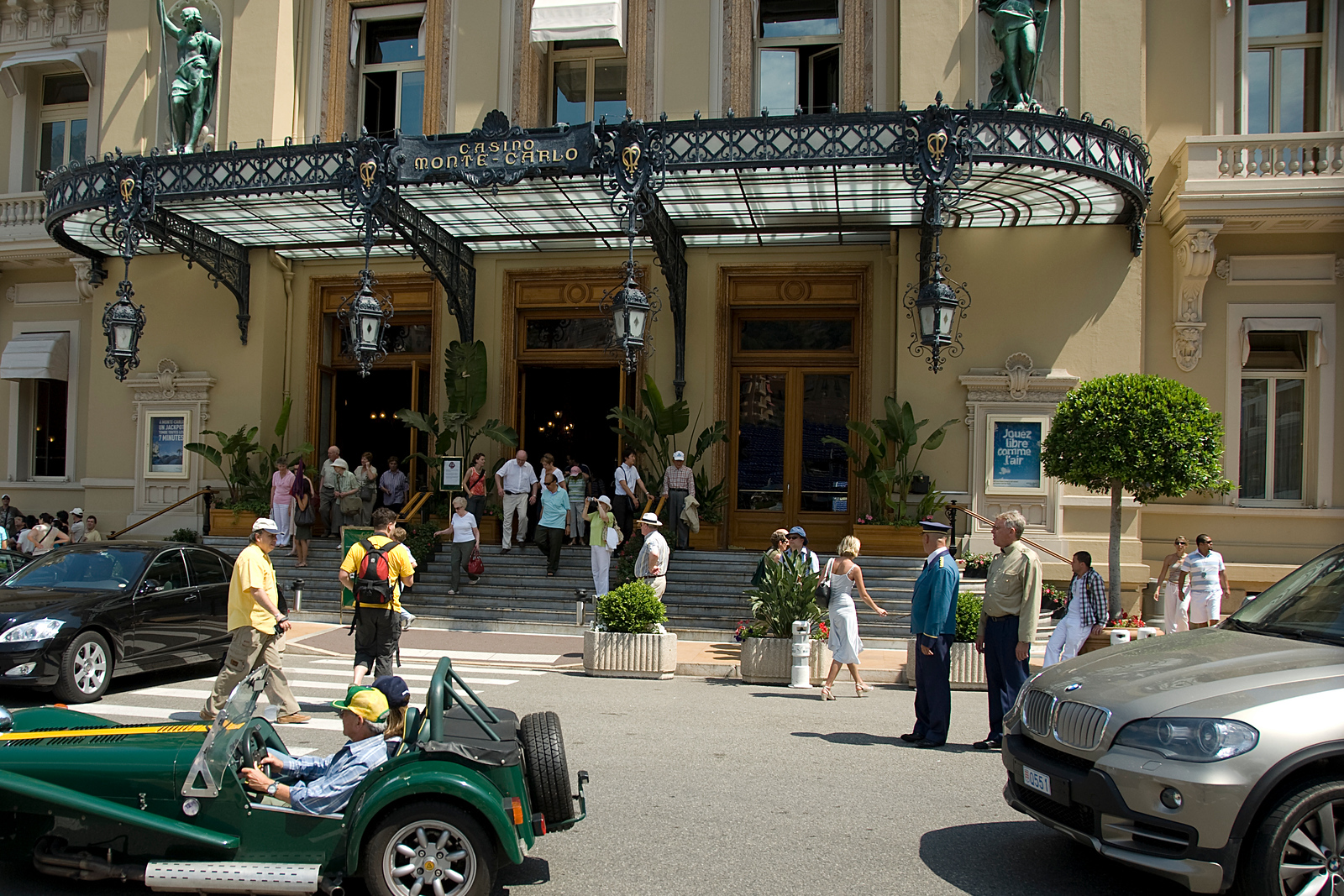Luxury cars parked outside Casino Monte Carlo, Monaco