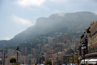 Mountain and high rise buildings in Monte Carlo, Monaco