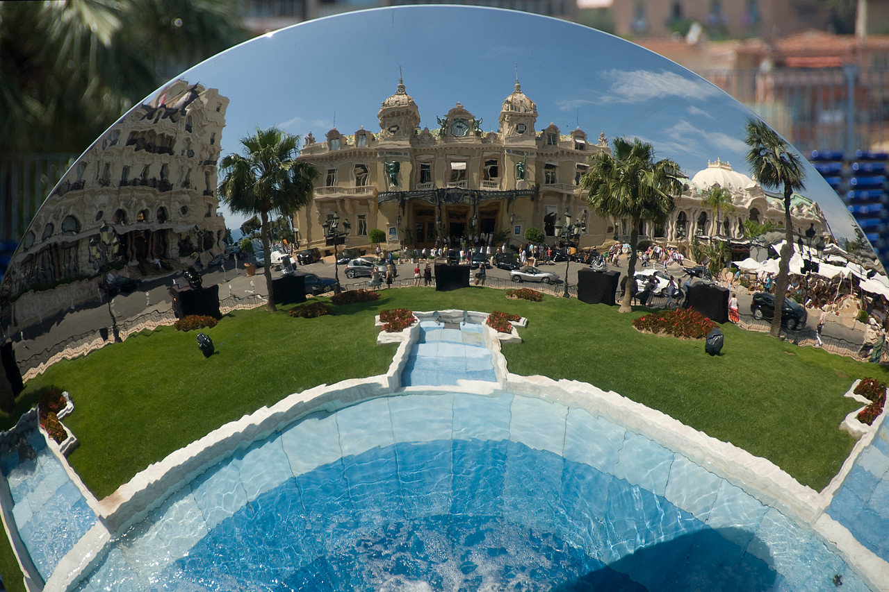 Reflection from the glass ball at the Casino Square Garden - Monte Carlo, Monaco