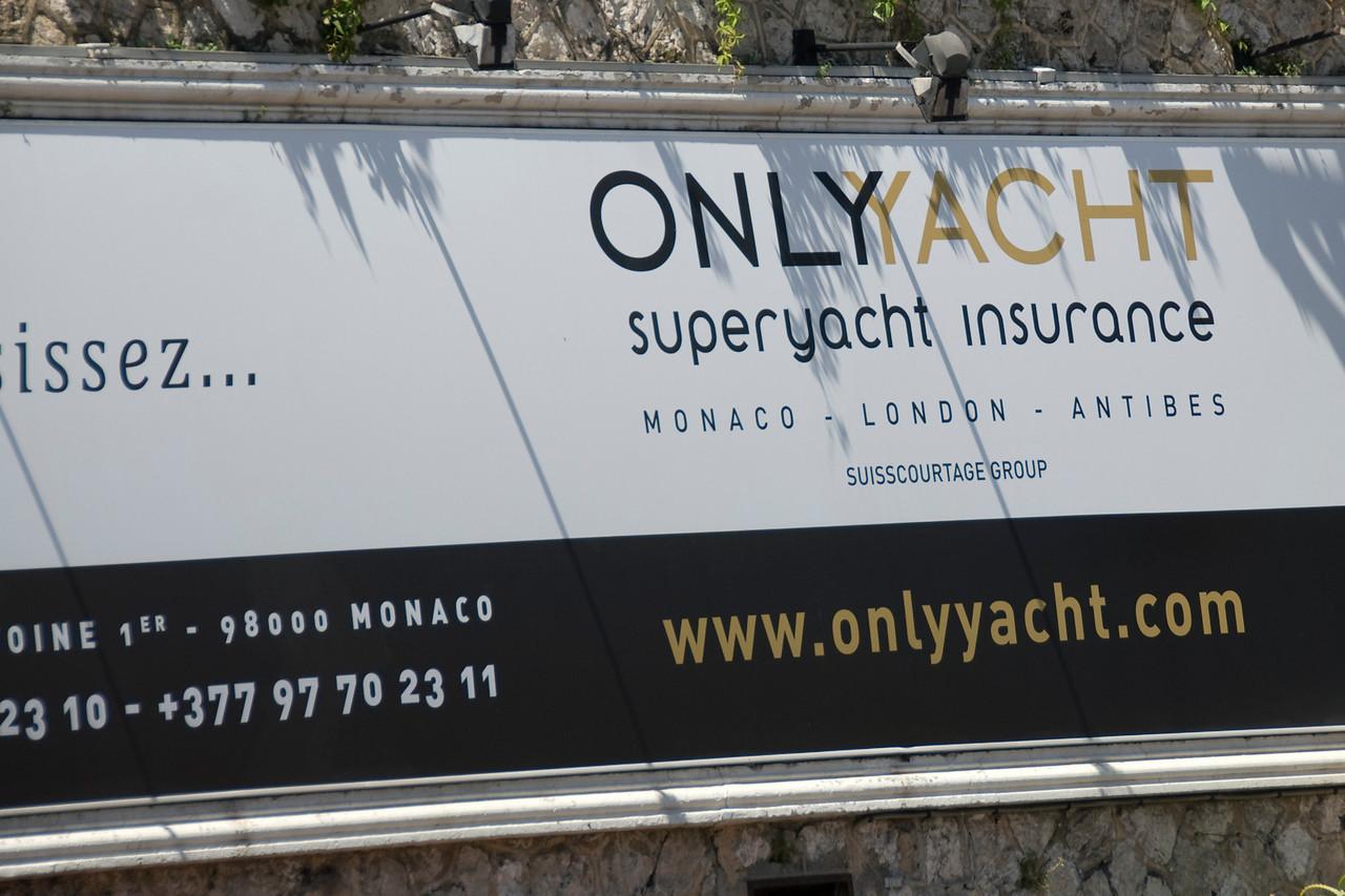 Yacht insurance company sign in Monte Carlo, Monaco