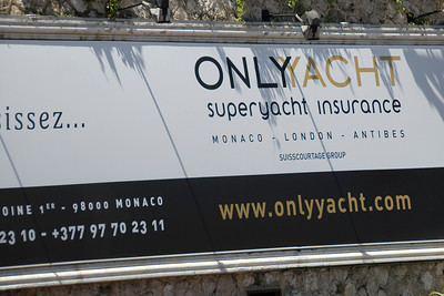 Yacht insurance company sign in Monte Carlo, Monaco