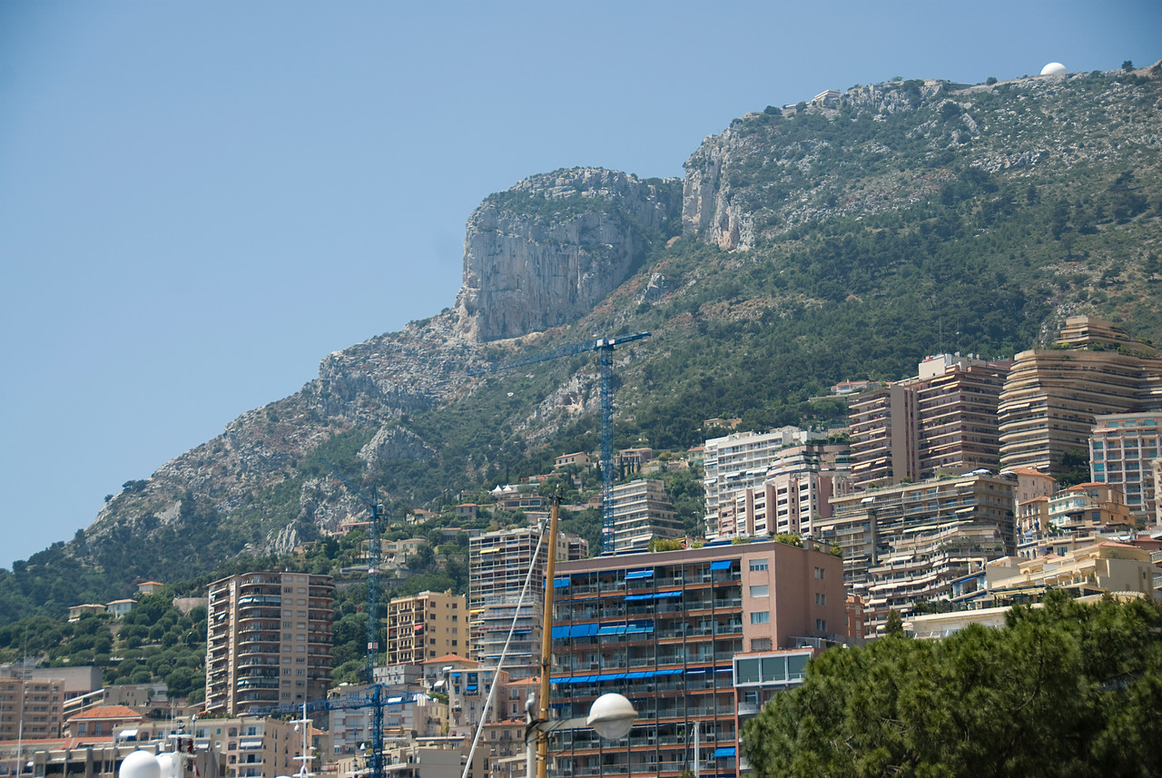 Mountain cliffs and high rise buildings in Monaco