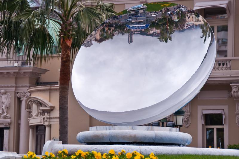 Reflecting Sculpture in park outside Monte Cristo Casino, Monte Carlo, Monaco