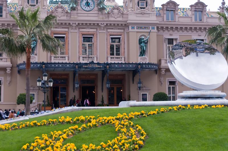 Reflecting Sculpture in park outside of Monte Cristo Casino Monaco