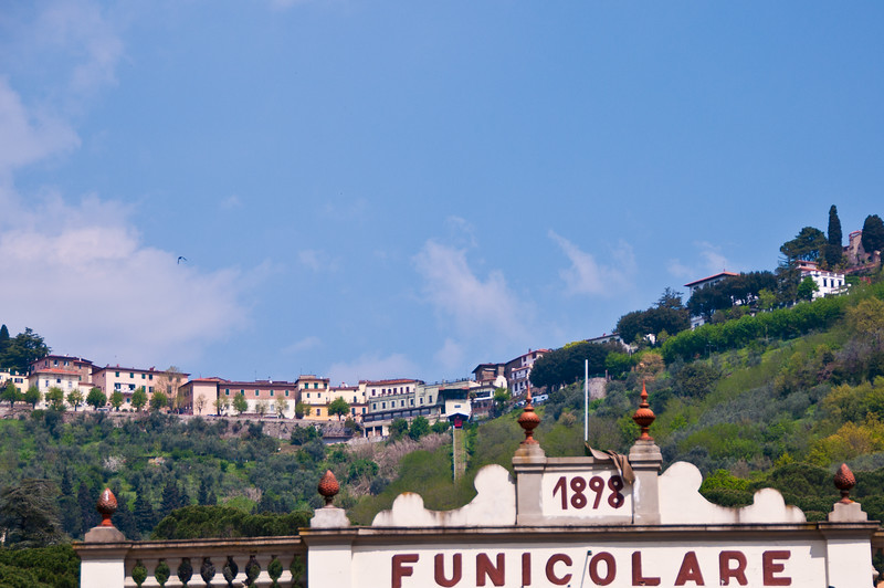 Funicular station looking up to the upper city. Montecatini Terme, Italy
