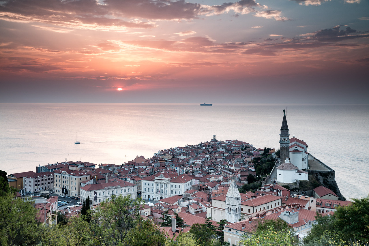 Sunset over Piran the port city of Slovenia