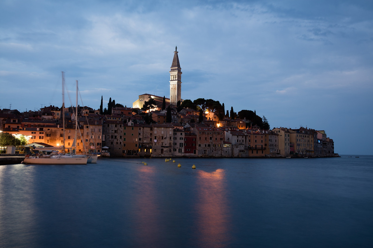 Rovinj is a beautiful old port city further up along the coast of Croatia,  Dominated by the steeple of the old church on the hill