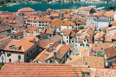 Rooftops of houses and buildings in Kotor, Montenegro
