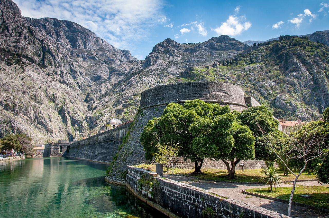 Skurda River and Kotor fortress walls in Kotor, Montenegro