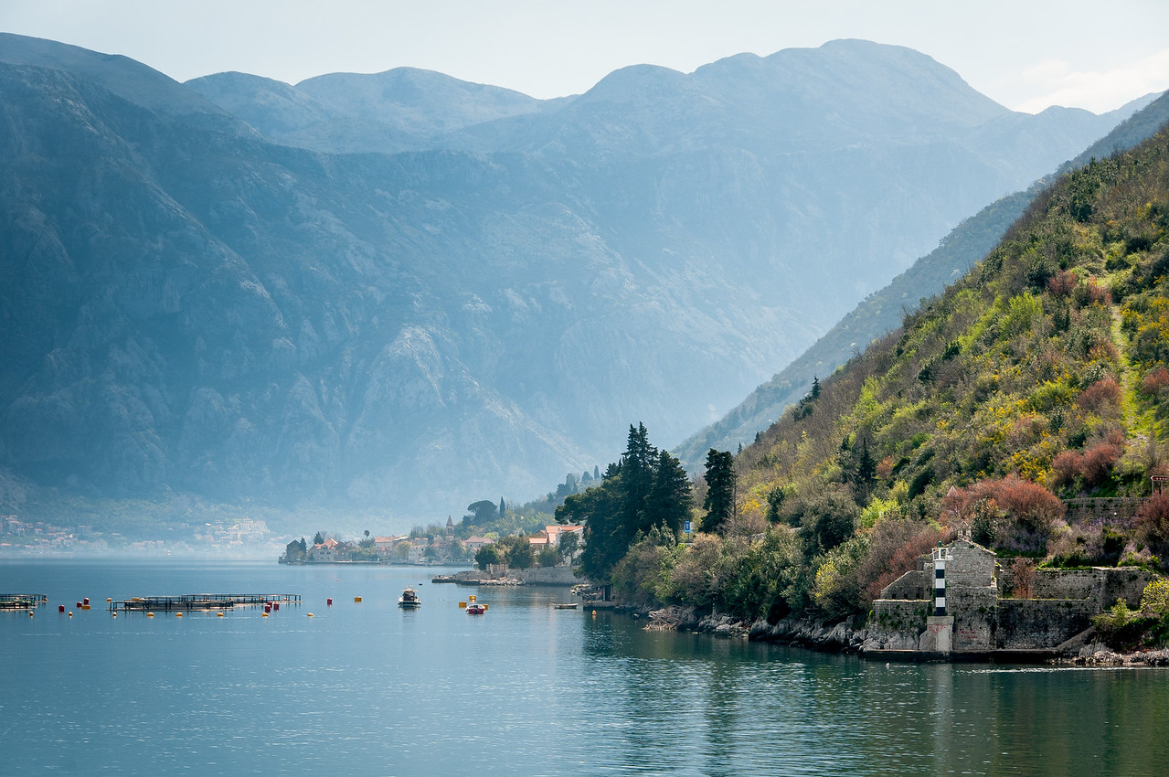 View of the Kotor Bay in Kotor, Montenegro