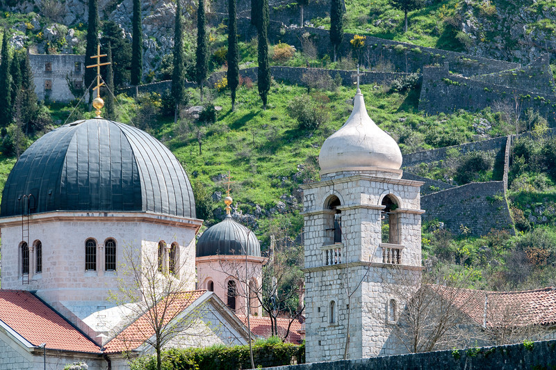 The domes of St. Nicholas and St. Clara's churches in Kotor, Montenegro