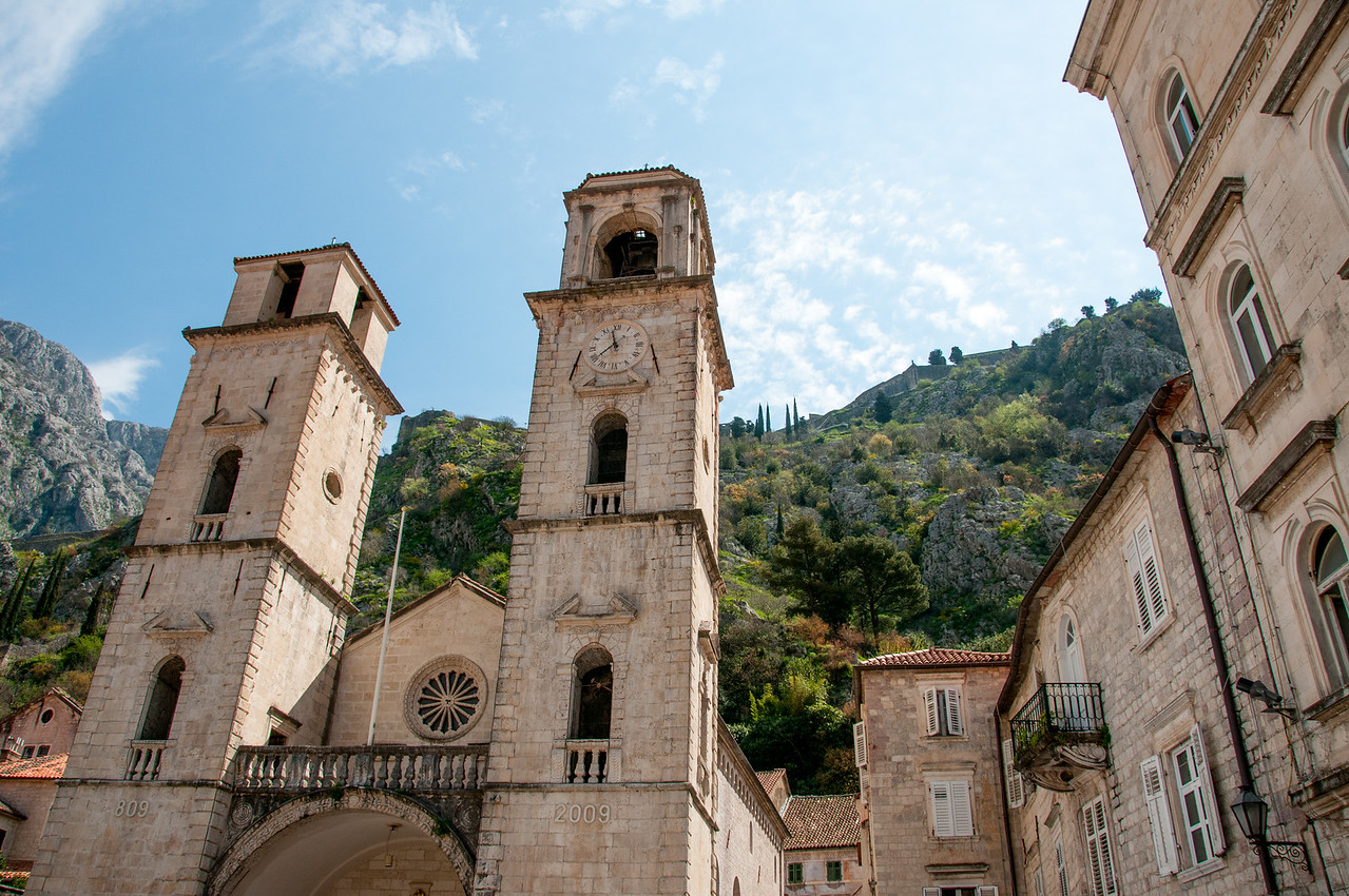 St. Tryphon Cathedral facade in Kotor, Montenegro