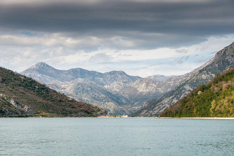 Wide shot of Kotor Bay in Kotor, Montenegro