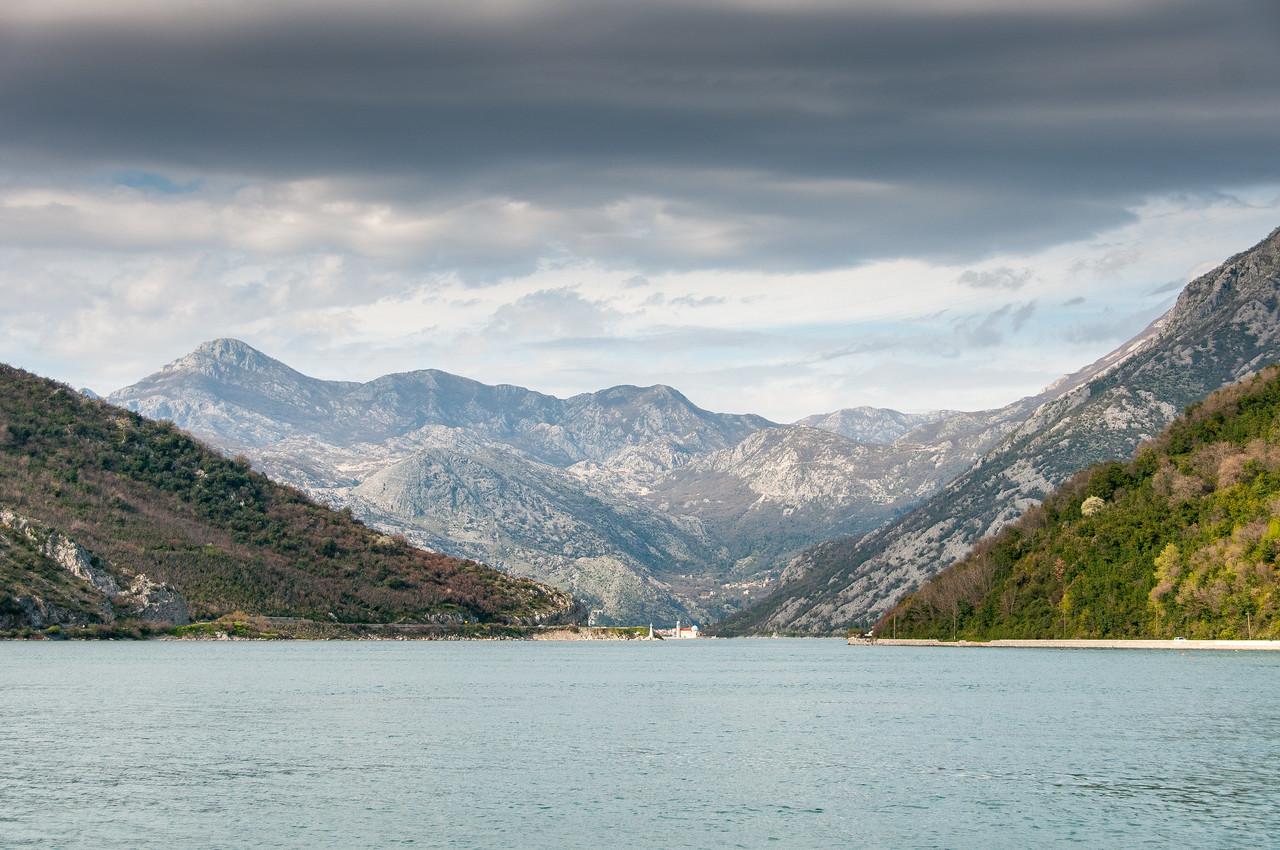 Wide shot of Kotor Bay in Kotor, Montenegro
