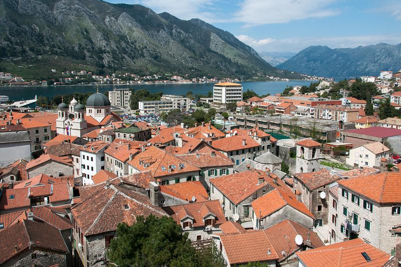Overlooking view of Kotor Bay and rooftops in Kotor, Montenegro